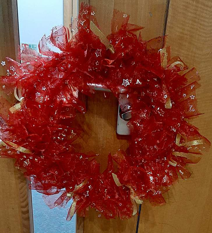 A Christmas wreath made by Sue.