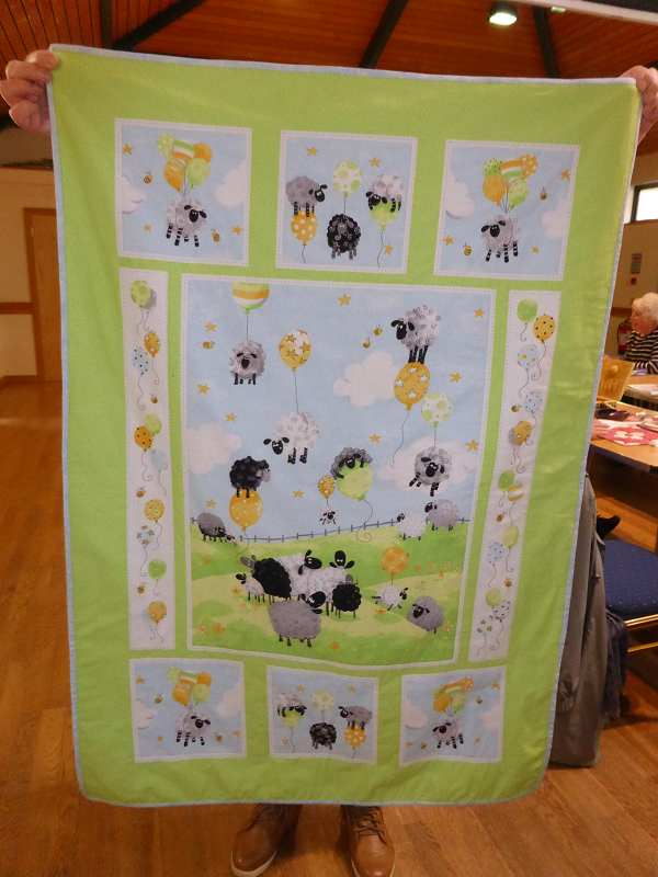A pretty sheep quilt that Christina has made for her Granddaughter.