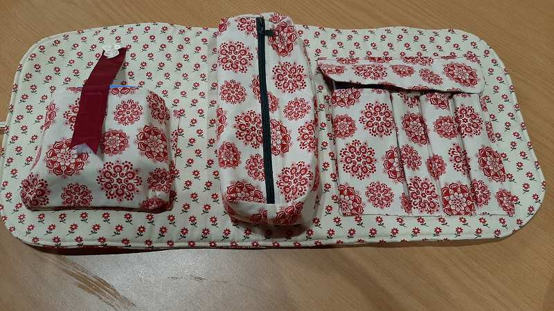 This is a sewing tool roll made by Jill.