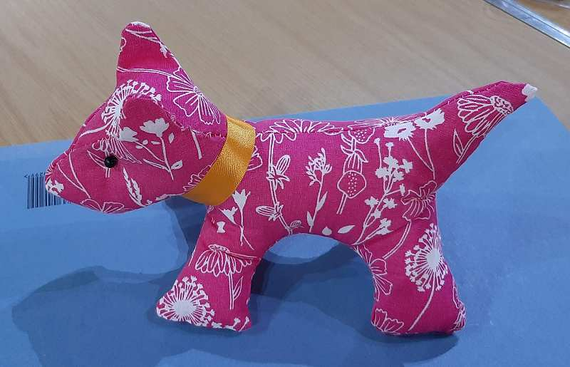 Margaret Smith made this cute dog from a magazine pattern.